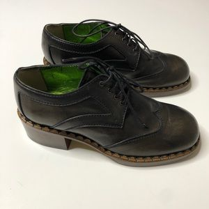 NWOT DENNIS COMEAU leather wooden Oxford shoes 37
